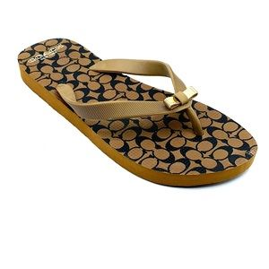 Coach flip flops. Size 5-6. Brown and Black.